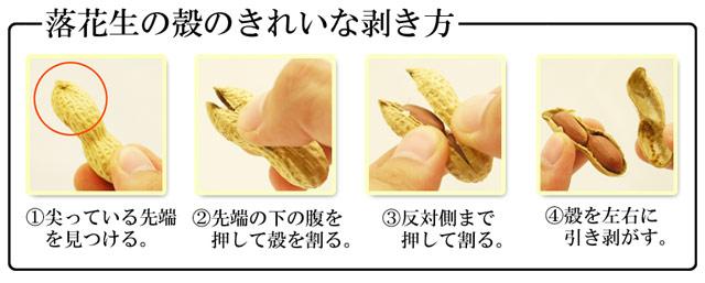 落花生の殻の割り方の解説。